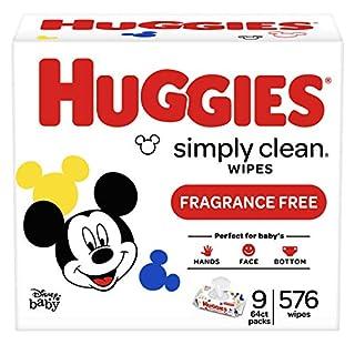 Huggies Simply Clean Unscented Baby Wipes, 9 Flip-Top Packs (576 Wipes Total)