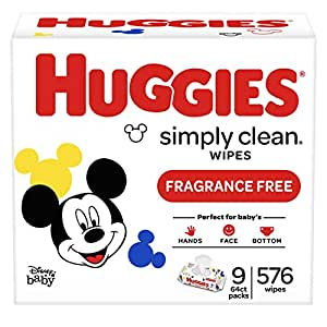 HUGGIES Simply Clean Fragrance-free Baby Wipes, Soft Pack (9-Pack, 576 Sheets Total), Alcohol-free, Hypoallergenic