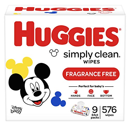 HUGGIES Simply Clean Fragrance-Free Baby Wipes, Soft Pack (9-Pack, 576 Sheets Total), Alcohol-Free, Hypoallergenic (Packaging May Vary)]()