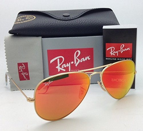Ray Ban Aviator Luxottica Red Orange Mirror Gold Frame Rb3025 112/69 58mm Made in - Ray Ban Luxottica By