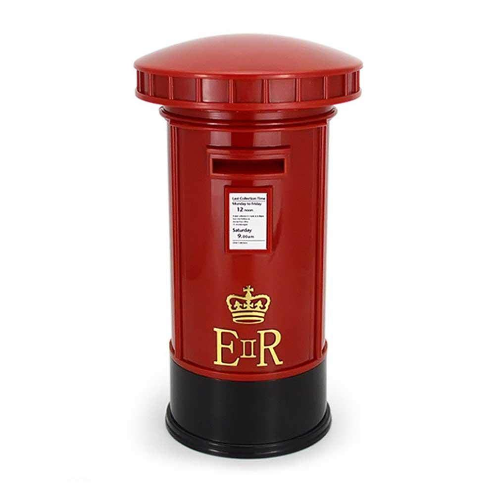 Saving Coin Britain London Street Red Mailbox Piggy Bank Vintage Creative Postbox Money Box with Several Functions for Home Decor Night Lighting AOLVO Piggy Bank for Girls//Boys Gift