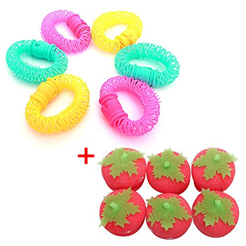 EYX Formula Pack of 6 Pcs Hair Curly Tool Donuts Hair Curlers & Strawberry Sponge Curly Hair Ball Hair Curler Tool for Hair (Corn Roll Hairstyle)