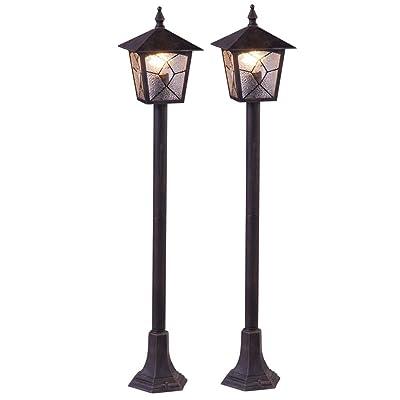 6f3e44694a5989 2 x lampadaire extérieur lanterne aluminium allée jardin éclairage terrasse  ...