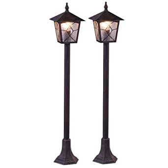 2 X Lampadaire Exterieur Lanterne Aluminium Allee Jardin