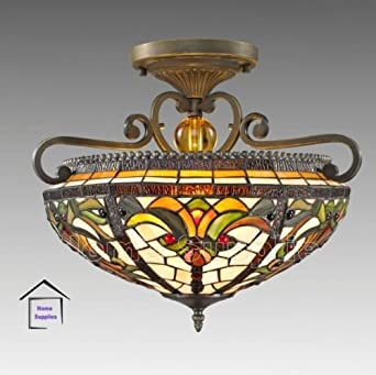 Real Stained Glass Tiffany Semi Flush Ceiling Light: Amazon.co.uk ...