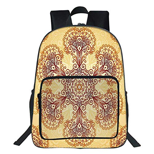- Ethnic School Bag,Ornate Vintage Circular Motif in Mehndi Style Henna Tattoo Mandala Inspired For Teens Girls Boys,11.8