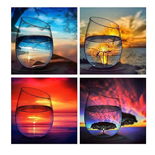 YLIANG 4 Pack 5D Diamond Painting Kits Set Cup Full Drill Diamond for Adults Kids DIY Rhinestone Craft dotz for Home Wall Decor(12x12in)