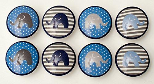 Set of 8 Grey and Blue Elephant Dresser - Elephant Dresser Knobs