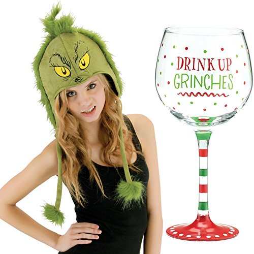 Dr Seuss Grinch Stole Christmas Hoodie Hat & Drink Up Grinches Wine Glass (Whoville Characters)