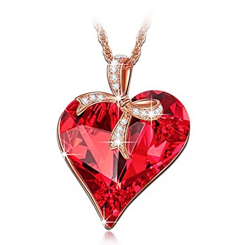 LadyColour Red Love Heart Pendant Necklace Swarovski Crystals Rose Gold Fashion Jewelry for Women
