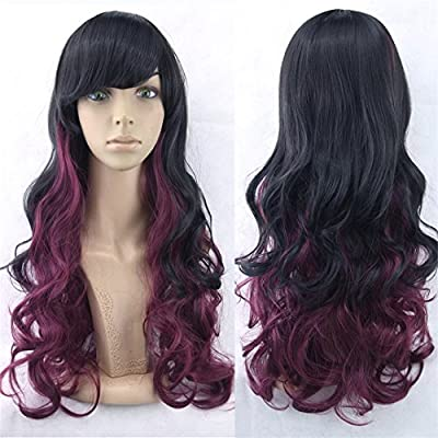 70Cm Long Women Hair Ombre Color High Temperature Fiber Wigs Pink Blue Synthetic Hair Cosplay Wig Peruca Pelucas T27/30/4 28inches
