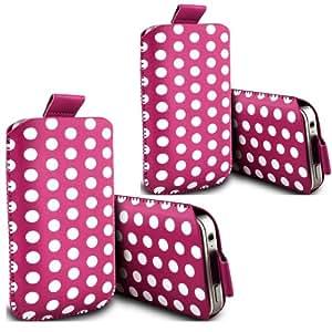 ONX3 - TWIN PACK - Huawei Ascend Y511 Polka Tab funda protectora de cuero de la PU Tire la bolsa cubierta de la piel (Hot Pink)