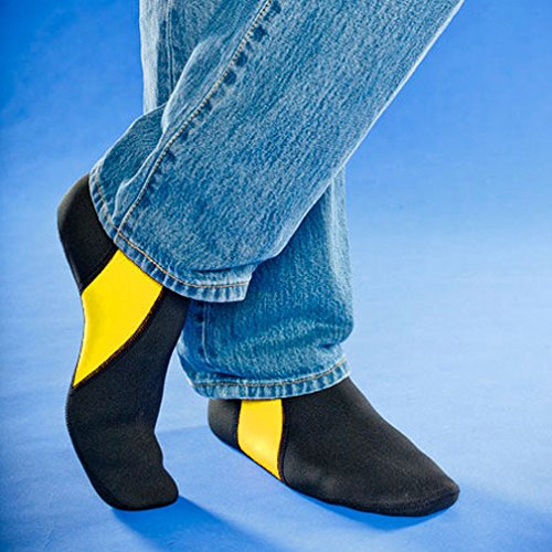 NuFoot-Booties-Mens-Shoes-Best-Foldable-Flexible-Footwear-Fold-and-Go-Travel-Shoes-Yoga-Socks-Indoor-Shoes-Slippers-Black-with-Yellow-Stripes-Large