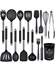 Silicone Kitchen Utensil Set, 15pcs Kitchen Cooking Utensils Set, Heat Resistant Non-Stick Silicone Cookware with Stainless Steel Handle, Spatula Spoon Turner Tongs(Black)