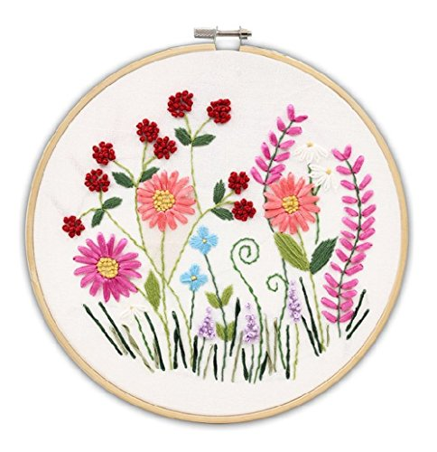 Cross Stitch Stamped Embroidery Kit - Eafior DIY Beginner Counted Starter Cross Stitch Kit for Art Craft Handy Sewing Including Color Pattern Embroidery Cloth,Embroidery Hoop,Color Threads,Tools (Alphabet Cotton Crib)