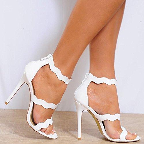 Dames Blanches Lanières Cheville Bracelet Bout Ouvert Stiletto Chaussures Hauts Talons