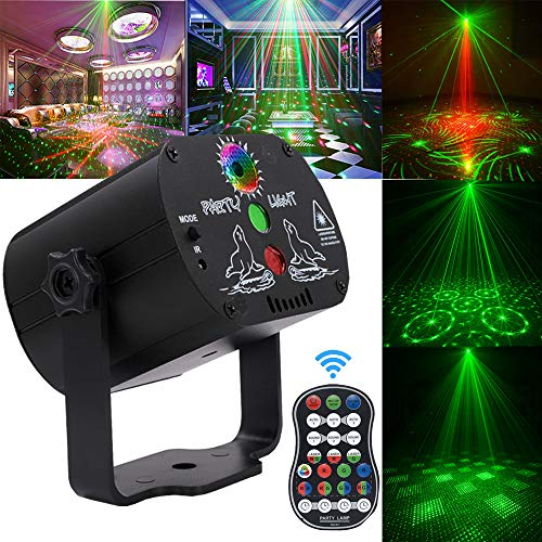 Laser Lights,DJ Disco Party Light Seenlast Stage Lighting Projector Timer Function Sound Activated Strobe Perform for Stage Lighting with Remote Control for Dancing Thanksgiving KTV Birthday