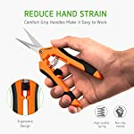 VIVOSUN Gardening Hand Pruner Pruning Shear 11 REDUCE HAND STRAIN: These micro tip snips are built spring-loaded so that they automatically push themselves open without you having to do the work which greatly reduces hand fatigue making these snips great for those with arthritis, carpal tunnel, hand or wrist issues. Comfort Grip handles will make it easy to work for long periods of time without discomfort ULTRA SHARP BLADES: These quality snips come with stainless steel precision-sharpened blades and are ready to tackle all of your deadheading, trimming, and shaping needs for your roses, annuals, vegetable and small flower gardens SECURE, EASY TO OPERATE LOCK: These micro tip snips feature a safe and secure sideways locking mechanism that keeps your blades protected and closed when not in use. The design of these pruning snips are perfect to use whether you are right or left handed with ease