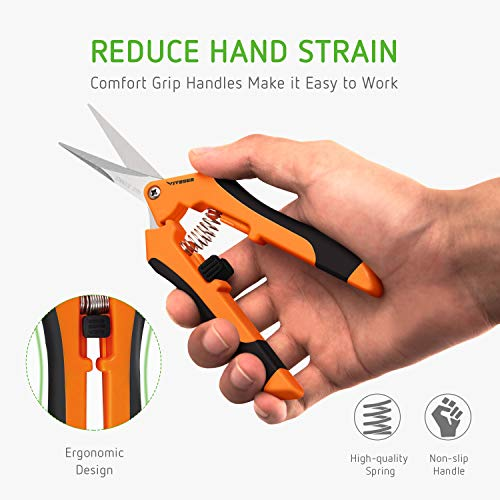 VIVOSUN Gardening Hand Pruner Pruning Shear with Straight Stailess Steel Blades (2Pack Orange) by VIVOSUN (Image #3)