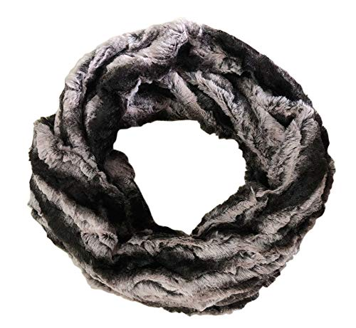Top Gray White Distressed Fluffy Infinity Scarf Bohemian Themed Plaid Faux Mink Fur Cozy Scarves Last Minute Christmas Stocking Stuffer Gift Idea Under 20 Dollar for Women Teen Girl Teacher (Style 4)