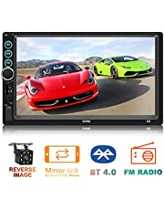 $45 » 7 inch Touch Screen MP5 Player Double Din in-Dash Head Unit Car Stereo Car Radio FM Radio Video Audio Compatible with Bluetooth Support Rear-View Camera Mirror Link Android & iPhone