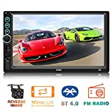Double Din in-Dash Head Unit Car Stereo Audio Systems 7 inch Touch Screen Car Radio MP5 Player FM Radio Compatible with Bluetooth 4.0 Support Rear-View Camera, MP3 Player, USB Port, Aux Input, Mirror