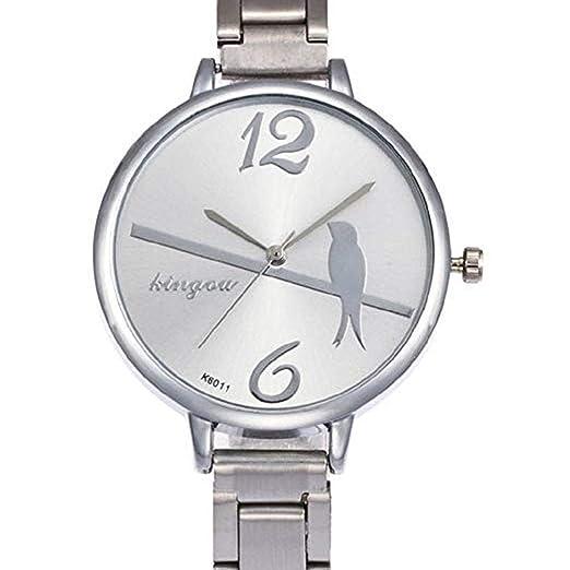 Mujeres Relojes de Cuarzo Liquidación Relojes Femeninos Bird Pattern Relojes de señora Relojes de Acero Inoxidable (Plateado): Amazon.es: Relojes