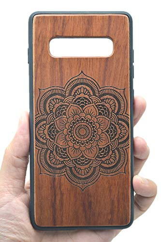 VolksRose Samsung Galaxy S10 Wooden Case - Premium Quality Natural Wood Hard Case Shock Absorbing Protective Phone Cover - Rosewood Mandala Flower and TPU