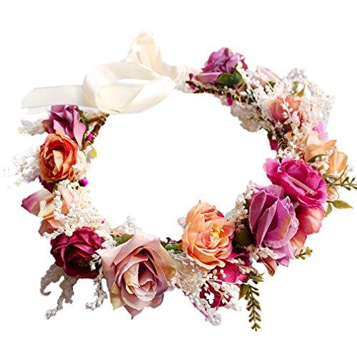 Yazilind Hochzeit Blumenkranz Krone für Brautjungfer, Rose Blumenkopf tragen mit Band, Photo Requisiten.