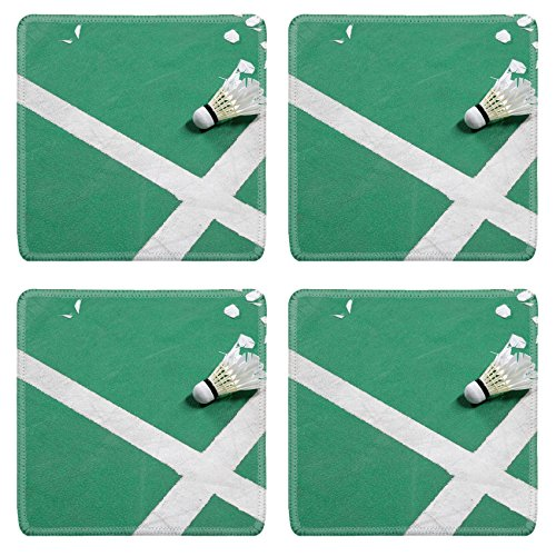 Luxlady Natural Rubber Square Coasters IMAGE ID: 34457727 photo of Badminton court with a shuttlecock at the corner