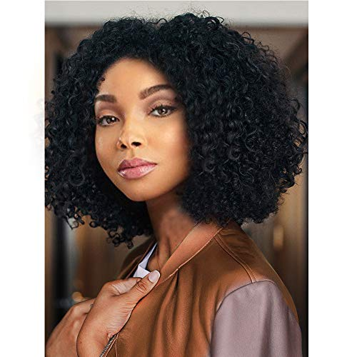 AISI HAIR Natural Afro Kinky Curly Wig Black Curly Synthetic Hair Wig Short Afro Curly Wig Heat Resistant Fiber Hair Side Part Wig for Women