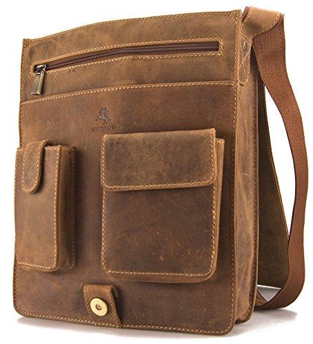Visconti Hunter - Umhängetasche - Für Tablet iPad - geöltes Antik-Leder - JASPER # 18410 Oiled Tan PRUCKiQM4