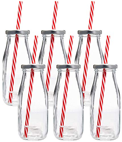 Estilo Dairy Reusable Glass Milk Bottles with Straws and Metal Screw on Lids (Set of 6), 10.5 oz, Clear