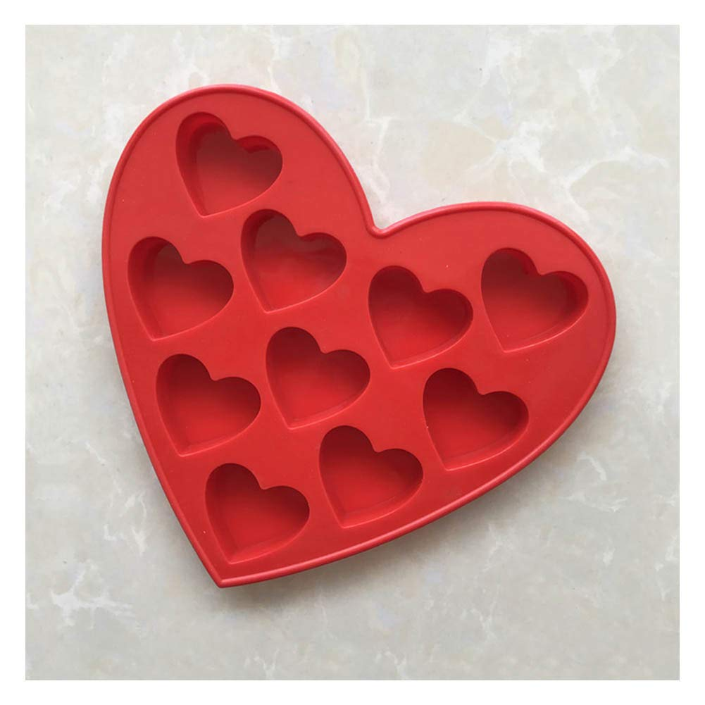 Cake Stencils, 10 DIY Heart Shape Love Baking Mould Cake Mold Chocolate Jelly Mould,Red,5Pcs by Cake Stencils (Image #2)