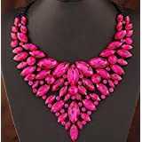 style11 rose red - Women Fashion Pendant Crystal Flower Choker Chunky Statement Chain Bib Necklace