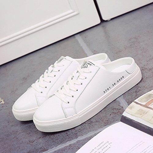 Antidérapante Plates Basket Petite En Sport Loafers Casuel Chaussure Sneaker Jrenok De Blanc Mode Confortable Femme Cuir 8q7760