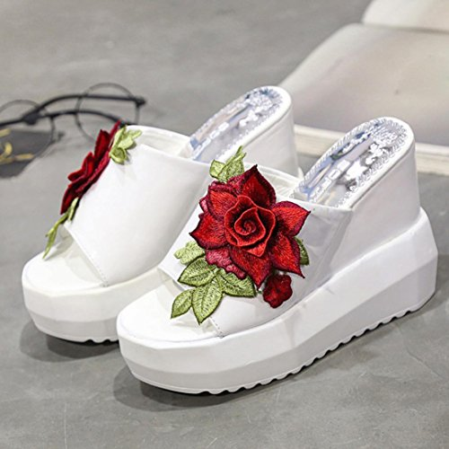 Sandales Compensées Inkach Femmes - Sandales Plate-forme Dété À Talons Brodés Pantoufles Inclinées Chaussures Blanches