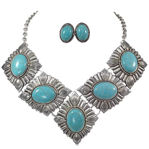 Gypsy Jewels Large Imitation Turquoise Bib Trendy Boutique Style Silver Tone Necklace & Earring Set (5 Concho)