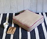 Store Indya Square Floor Cushion Pillow Cotton Chunky Tufted Booster Indoor Outdoor for Home Office in Beige Color with Pink Piping 18 x 18 Inches
