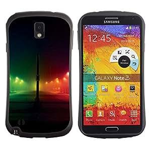 Suave TPU Caso Carcasa de Caucho Funda para Samsung Note 3 N9000 N9002 N9005 / Night Rainbow City Black / STRONG