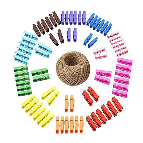 Wooden Clips,100 Pcs Mini Colored Clothespins with 100 Feet Jute Twine,3.5cm Wood Craft Spring Clothespins for Home Arts Crafts ()
