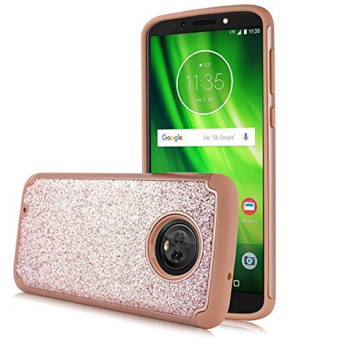 Moto G6 Case, Moto G (6th Generation) Case, Glitter Shock Proof Edge Scratch Shield Hybrid Layers Bumper Slim Cover Screen Film Motorola Moto G6 5.7 inch (Rose)