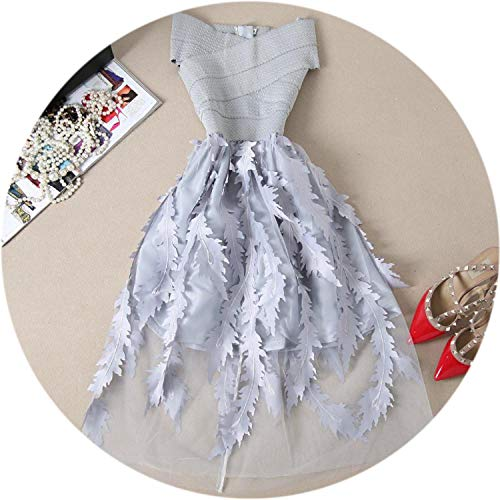 Women Lace Bandage Patchwork Stretch Elegant Dress Vintage Dresses Gown Party Dresses Vestido,Gray,L ()