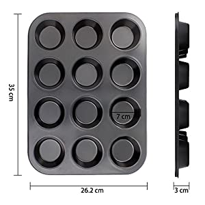 SveBake Muffin Pan - 12-Cup Muffin Tin Nonstick Cupcake Pan with 6 Silicone Muffin Mold, Black