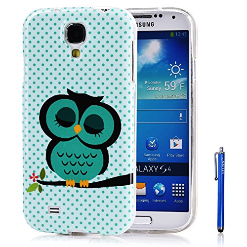 Galaxy S4 Case,Vfunn Premium TPU Gel Scratch Resistant Funny Cartoon Case Cover for Samsung Galaxy S4 SIV i9500 with 1 Screen Protector 1 Clean Cloth Cleaner 1 Stylus Pen (Galaxy S4 TPU Case) (Sleep Owl)