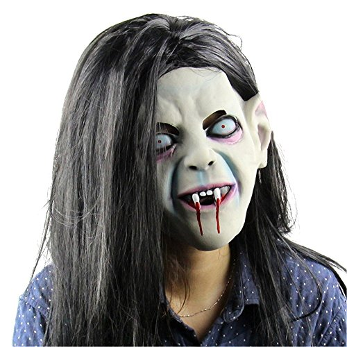 Halloween Horror Party Cosplay Mask, Latex Creepy Scary Halloween Toothy Zombie Ghost Mask Scary Emulsion Skin with Hair -