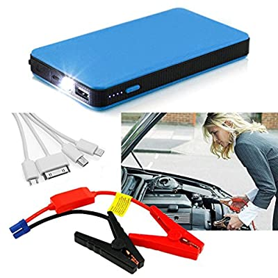 RDT 12000mAh 400A Peak Mini Size Car Jump Starter Portable Power Bank External Battery Charger Ultra-thin Emergency Auto Jump Starter Laptop Smart Phone USB Device with LED Flashlight(Blue)