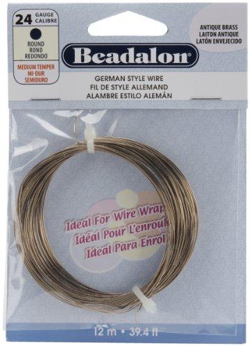 (Beadalon 180R-024 24 Gauge Round Wire, Antique Brass, 12-Meter)