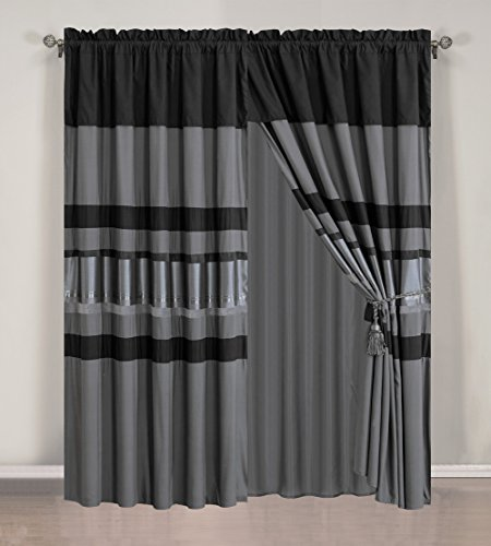 Chenille Curtain Set (4 Piece Eggplant Grey / Black silver stripe Chenille Curtain set with attached Valance and Sheers)