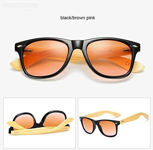 de Hombres sol espejo de Unisex gafas Negro Mujeres Sport Marrón Plaza dorado Negro sol bambú Gafas Amarillo gafas madera 1501 de estilo ZHANGYUSEN sol de Rosa sombras de t0Ox5wZq
